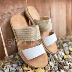 NEW🔥White Vegan Leather Espadrille Sandals
